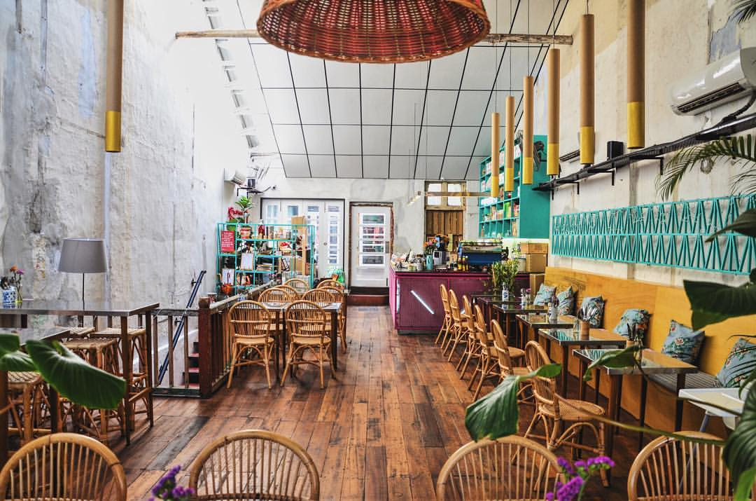 The colourful and charming interior of Merchant Lane cafe.