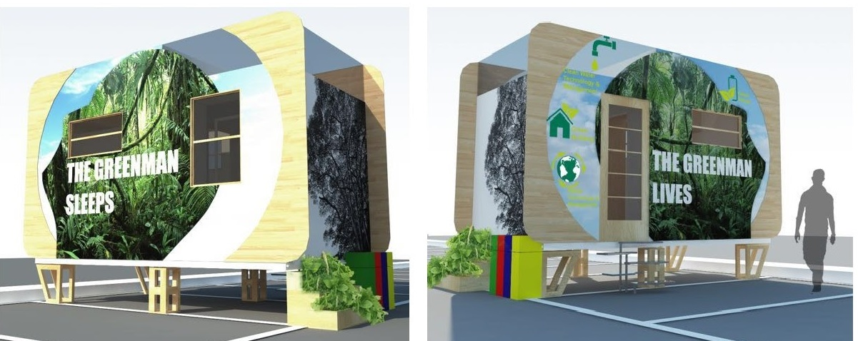 External mock up of the eco-living GreenMan Tiny Home.